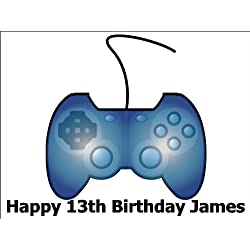 """10"""" x 7.5"""" Game / Gaming Console Controller Edible Image Cake Toppers Personalized on Rice Paper - [Use 'Contact Seller' link to send your personalized message.]"""
