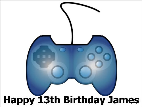 A4 Game Gaming Console Controller Birthday Cake Toppers Decorations Personalised On Edible Rice Paper
