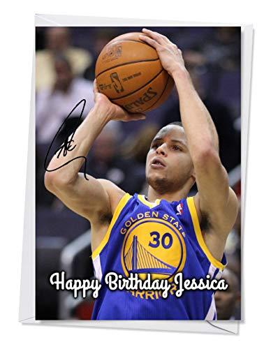 Stephen Curry – Golden State Warriors – NBA 1 – Tarjeta de felicitación autografiada para cualquier ocasión (cumpleaños, Navidad, etc.).