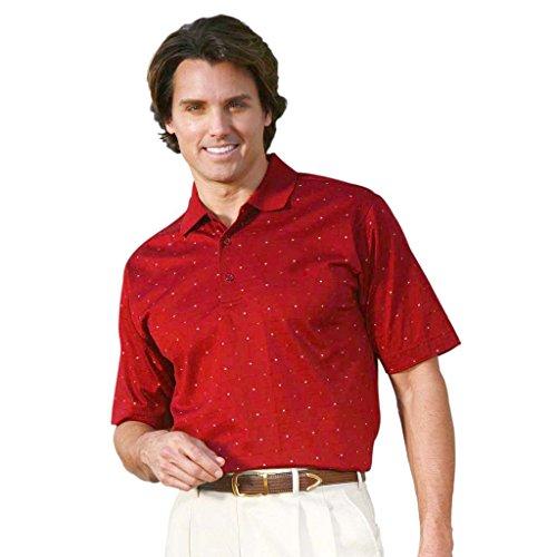 Ivory Golf Shirt - Monterey Club Mens Pima Cotton Jacquard Shirt #1273 (Merlot/Ivory, Medium)