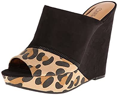 Carlos by Carlos Santana Women's Mercury Wedge Sandal,Black/Leopard,10 M US