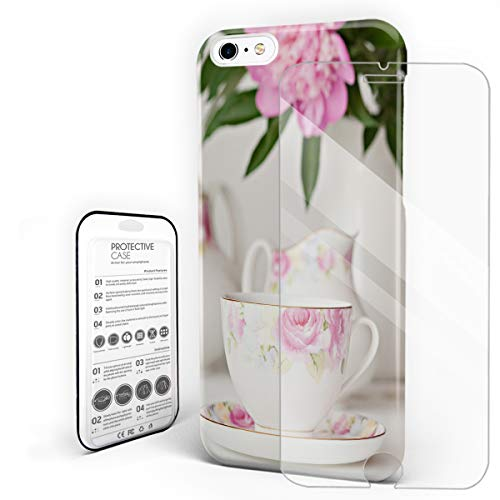 Cups of Pink Flowers and Camellia in Vase Phone Case for iPhone 6 / iPhone 6S Stylish Design Slim Anti-Fall Hard Plastic Phone Cover with Tempered Gglass Screen Protector ()