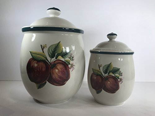 (Apples, Casuals by China Pearl, Stoneware Canister Set)