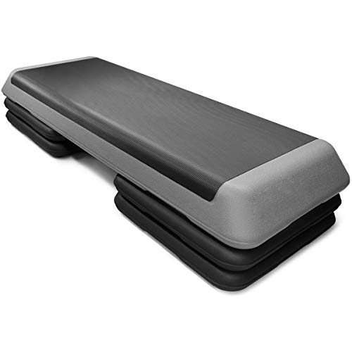 "Goplus 43'' Step Platform Adjustable Fitness Aerobic Stepper 4"" - 6"" - 8"" Non-Stick Surface W/Risers (Gray)"