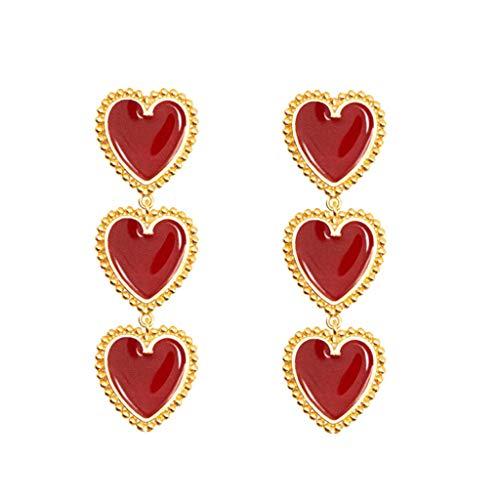 2004 Pendant Jewelry - Vintage Long Pendant Red Love Geometry Enamel Earrings Ladies Jewelry Gift