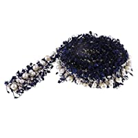 IPOTCH 1ヤード 手芸用リボン テープ ビーズリボン パール装飾 ミシン クラフト 手芸用品 縫製 2色選ぶ - 濃紺の商品画像
