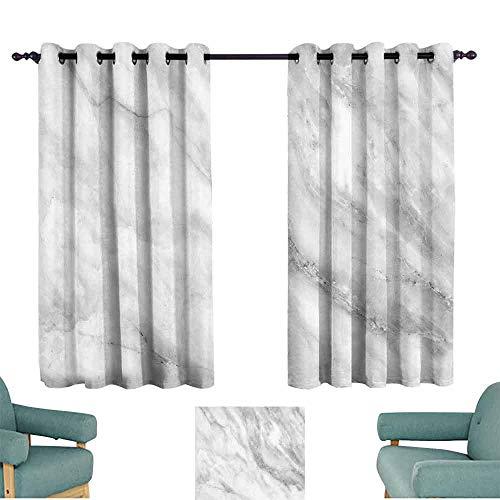 HCCJLCKS Polyester Curtain Marble Marble Surface Textured Hazy Cracks and Veins Shady Limestone Ceramic Artful Print Breathability W63 xL72 Grey Dust