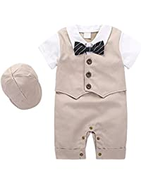 99e4e7a00 Newborn Baby Clothing Set One Piece Long Sleeve Baby Boys Gentleman Formal  Tuxedo Outfit Suit