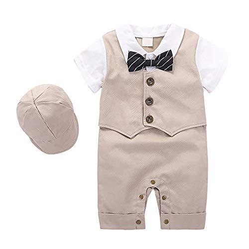 Baby Boy Outfits Set, 3pcs Long Sleeves Gentleman Jumpsuit & Vest Coat & Berets Hat with Bow Tie(6-12Month) ()