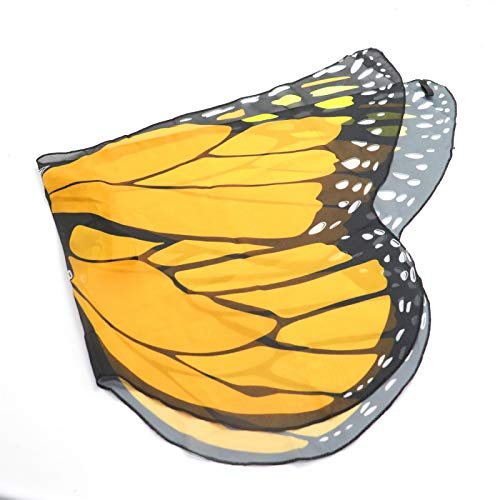 AQUEENLY Kids Monarch Butterfly Wing, Cute & Soft Butterfly Wing for Kids, Toddler on Party, Birthday, Cosplay to Dance, Perform - Costume Accessory (Orange)