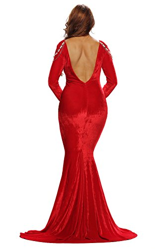Elegante Rot Samt & Bead Abendkleid langes Kleid Cruise Ball Cocktail Wear Kleid Größe S UK 8�?0 EU 36�?8