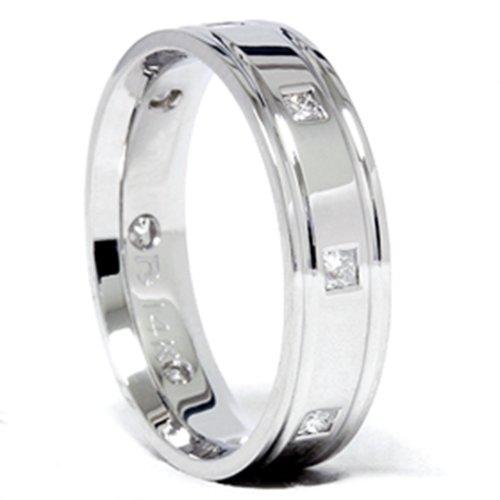 Mens Princess Cut Diamond Comfort Fit 14K Wedding Band - Size 11.5 (Comfort Fit Princess Cut Diamond)