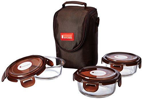 Solimo Glass Lunch Box Set with Bag, 350ml, 3-Pieces, Clear