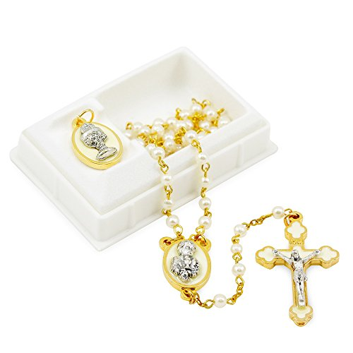 First Communion Rosary Set for Boys w/White Pearl Beads