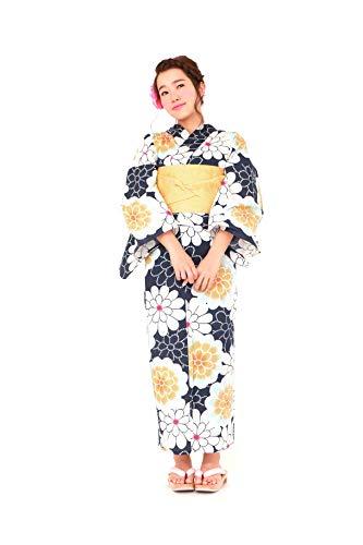 ゴミ哲学的あそこ[ボヌールセゾン] bonheur saisons レディース浴衣セット 半幅帯 紺 ネイビー 白 ホワイト 黄色 イエロー 菊 ガーベラ 綿 女性