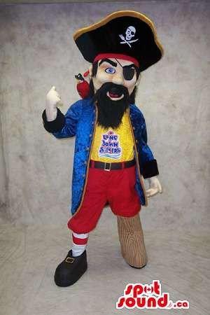Pirate Mascot Costume (Pirate Human Mascot SpotSound US With Eye Patch, Wooden Leg And Hat)