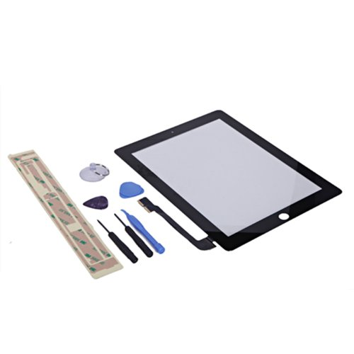 HDE Replacement Front Glass Digitizer Touch Screen + Screwdriver Pry Tool Kit + Adhesive Tape for iPad 4