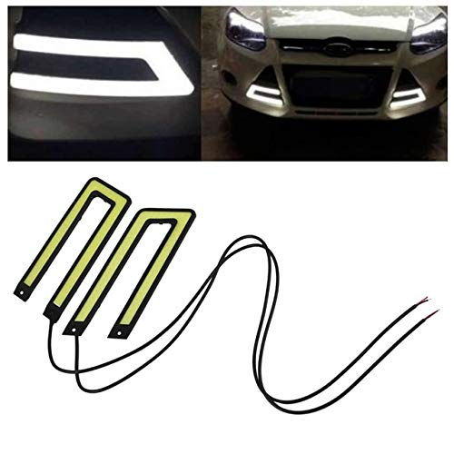 BEESCLOVER 2pcs White COB Led Daytime Running Light DRL Headlight Fog Lamp DC12V Car Light Source U Shape Show