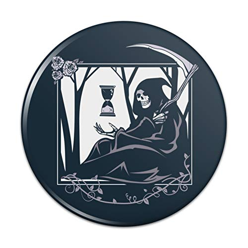 Death Grim Reaper Waiting With Hourglass Compact Pocket Purse Hand Cosmetic Makeup -