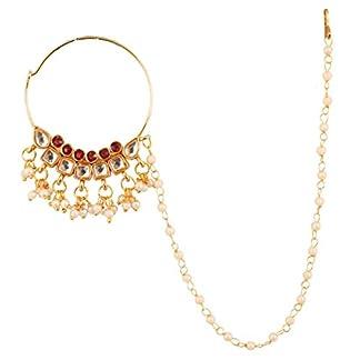 Touchstone Indian Desire Kundan Polki Look Designer Bridal Jewelry Nath (Nose Accessory) in Gold Tone Women. 41uVlFeY6UL
