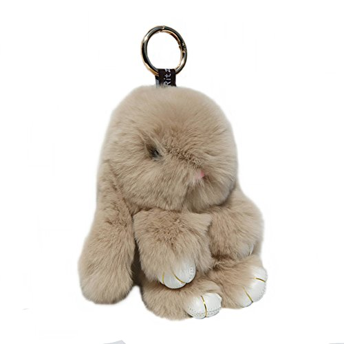 RitzyBay Handmade Rex Rabbit Fur Bunny Keychain with RitzyBay GiftBox (Small, Beige) by RitzyBay