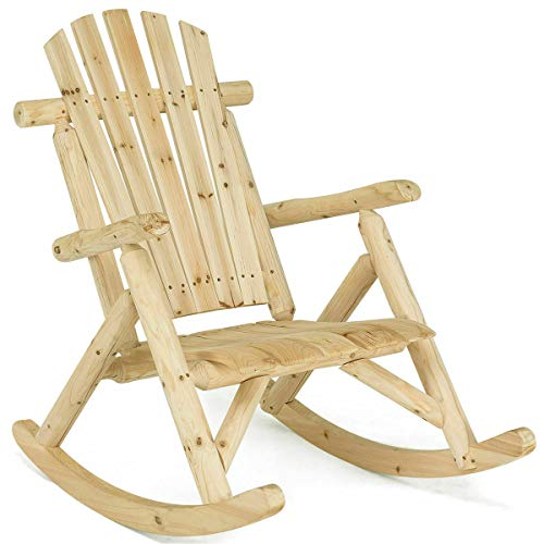 Shining Log Rocking Chair Wood Single Porch Rocker Lounge Patio Deck Furniture Natural