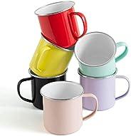 Rorence Camping Mugs Coffee Mugs: 6 Piece 12 Oz Colorful Powder Coated Metal Camp Cups Coffee Cups