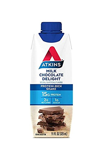 Atkins Ready to Drink Protein-Rich Shake, Milk Chocolate Delight, Gluten Free 11 Ounce Pack of 24)