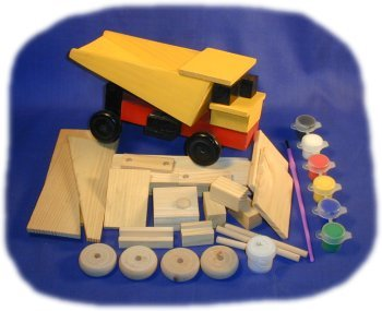 Brandine Wood Kits (Dump Truck Wood Craft Kit, With Paint, Glue and Brush)