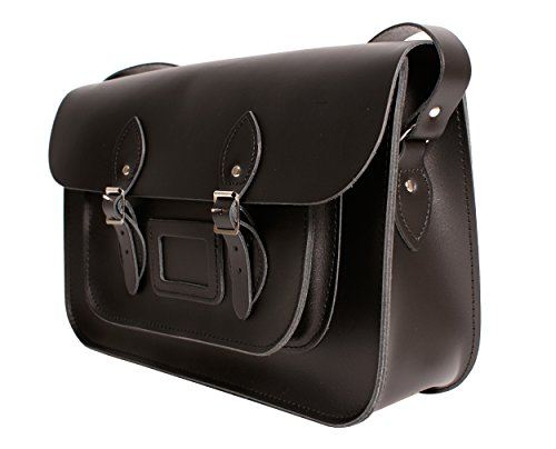 "15 ""Antracite Nero in vera pelle Oxbridge Satchel – Classic Retro Fashion Laptop/zaino"