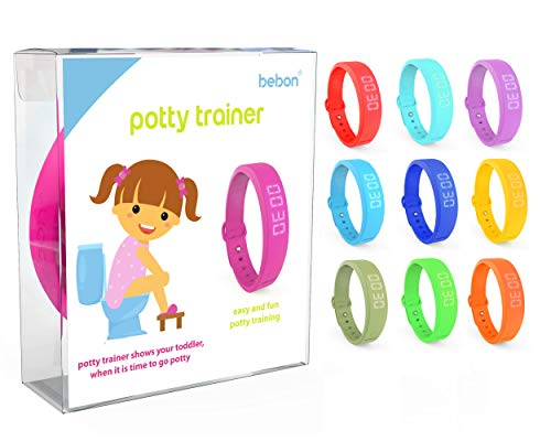 Potty Trainer – New Upgraded Version – Toilet Trainer for Kids Makes Potty Training Easier – Timer with Extra Wrist Band, Smaller Wrist Band Size, Water Resistant + More Colors (Pink + Blue)