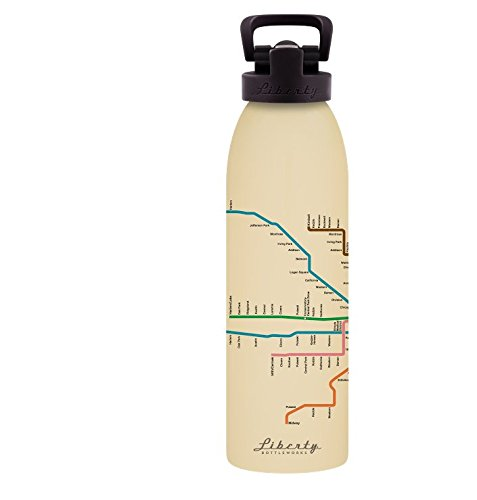 Liberty Bottleworks Chicago Mass Transit Aluminum Water Bottle, Made in USA, 24oz, Almond, Sport Cap