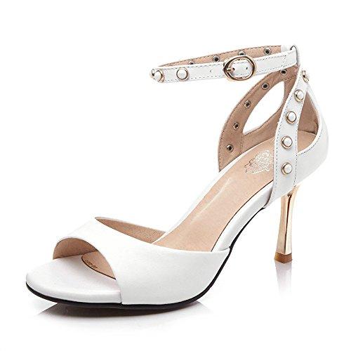verano Stiletto Heels Zapatos en hebilla Essen de High Piel knöchelriemen la Sandalias piel 41 Heels tITgqF8