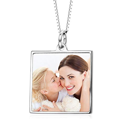 (LONAGO Full Color Photo Personalized 925 Sterling Silver Necklace Custom Pet Cat Dog Family Mother Baby Picture Round Square Shape Pendant (Square/White-Gold-Plated-Silver))