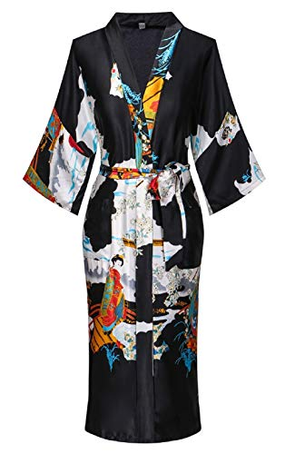 Women's Floral/Patterned Silky Kimono Robes Long Satin Bathrobes Sleepwear Loungewear