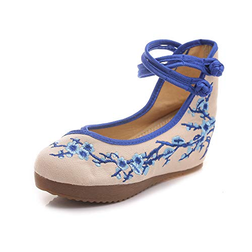 Bleu Plateforme Jane Prune Femmes Broderie Chaussures Flats Chinois Compenses Toile Fleur Casual Fanwer Mary vOpBqB