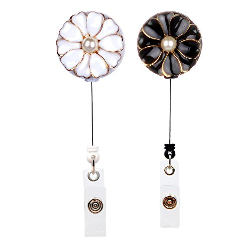 Qinsuee Retractable Badge Holder with Alligator Clip, 24 inch Retractable Cord, ID/Name Badge Reel with Pearl, 2 Pack (Black&White)