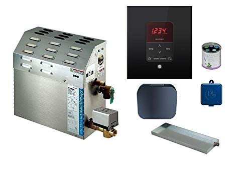 Mr Steam - Steam Bath Generator with Butler Package in Black Square Finish and Free Aroma Sampler 5 Pack (9 KW MS-400-E)
