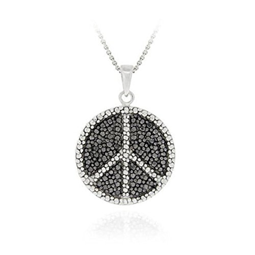 Sterling Silver Black Simulated Diamond Accent Peace Sign Necklace