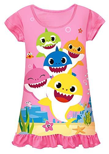 AOVCLKID Toddler Girls Baby Princess Pajamas Shark Cartoon Print Nightgown Dress (Rose 3,120/4-5Y)