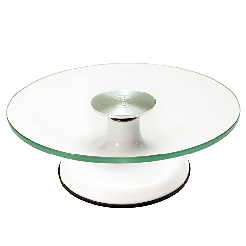 Glass Top Heirloom Quality Revolving Cake Stand for Decorating, Display and Serving by Bakers Guild Tools