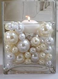 68 Unique Ivory Pearl Beads Including Clear JellyBeadZ® . Great for Wedding Centerpieces and Decorations