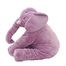 Missley Cute Elephant Pillow Toddler Sleeping Elephant Stuffed Plush Pillows Soft Plush Stuff Toys for Children Kids (purple)