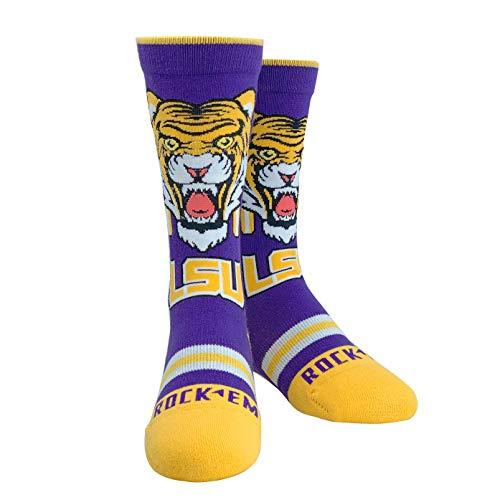 Rock Em Elite LSU Tigers Mascot Knitted NCAA Licensed Crew Socks YOUTH