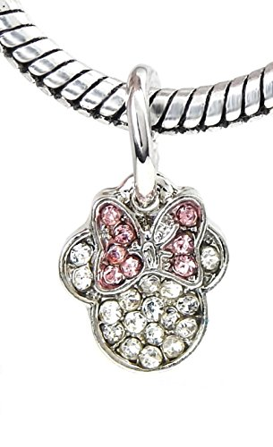 J&M Dangle Crystal Mouse with Pink Bow Charm Bead for Charms ()