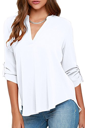 Womens White Blouse - YMING Women's Solid Loose Cuffed 3/4 Sleeve Blouses Summer Tops White 2XL