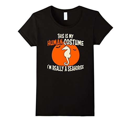 Womens I'm Really a Seahorse This is My Human Costume Halloween Tee XL Black (Seahorse Costume Amazon)
