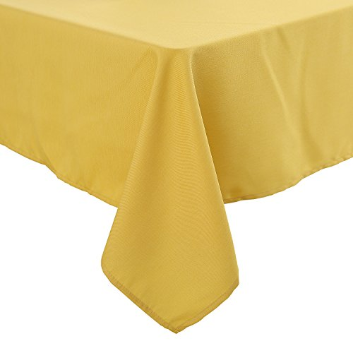 Deconovo Decorative Oxford Table Cloth Water Resistant Tablecloth Rectangle Table Cloth for Picnics Table 54x72 Inch Yellow