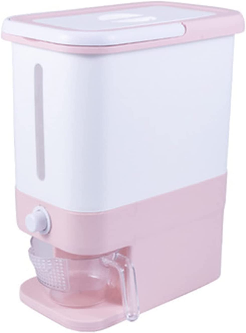 Airtight Food Storage Containers Rice Dispenser - Dry Food Dispenser/One-Button Access (Pink) - Storage Bin W/Measuring Cup Cereal Dispenser (Color : Pink, Size : 45.5X38X23CM)