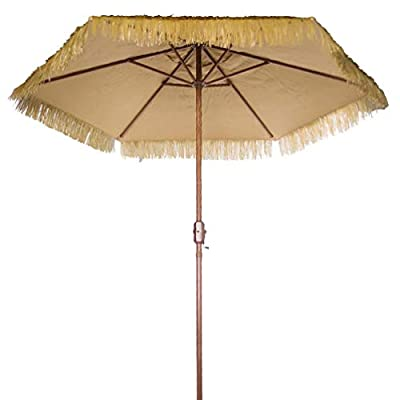 "Bayside-21 Patio Umbrella Outdoor Table Graden Umbrella 9-Feet Crank Thatched Tiki Umbrella Canopy (Plastic Straw, Natural) - 9 Foot Tropical Island Thatched Umbrella - UPF 50+ Protection - Perfect for Tiki Bar, Beach, Patio, Deck, Garden, Restaurant and Cafe 9ft patio umbrella easily opens and closes with crank lifting system. NO Tilt. 9' thatch umbrella comes with Heavy duty 1.5"" steel poles with wood grain finish and 6 pcs steel rectangle ribs - shades-parasols, patio-furniture, patio - 41uVpy0qf8L. SS400  -"